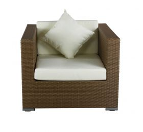 Luxus Polyrattan Sessel in sand